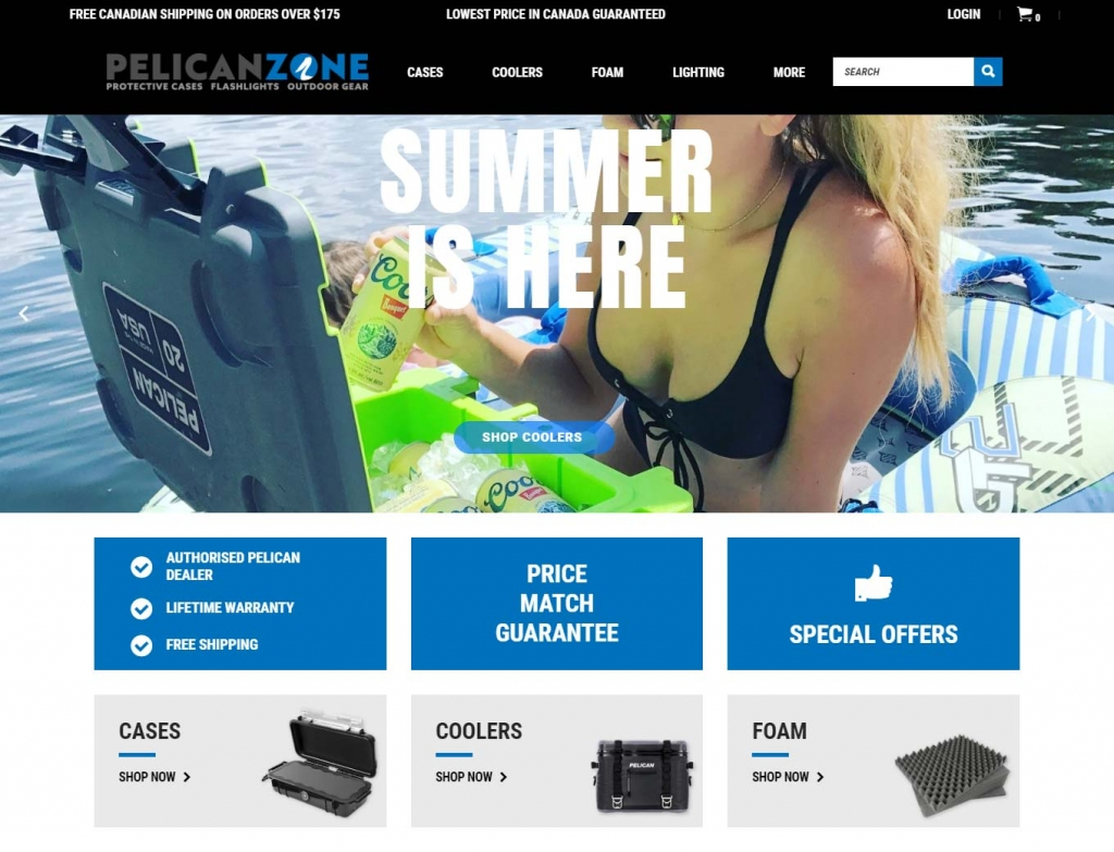 Landing page of the Pelican Zone ecommerce website design