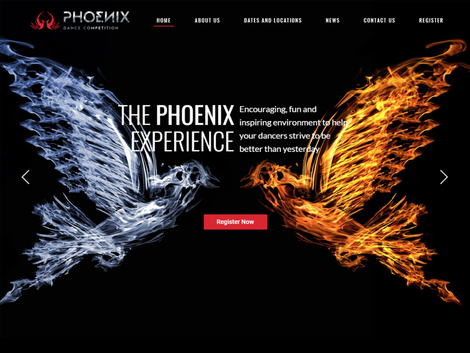 Two phoenix rise up on the website home page.