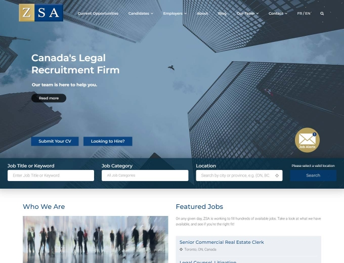 A closer look at the ZSA legal recruitment home page web design