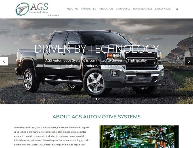 Closeup of the AGS automotive website design