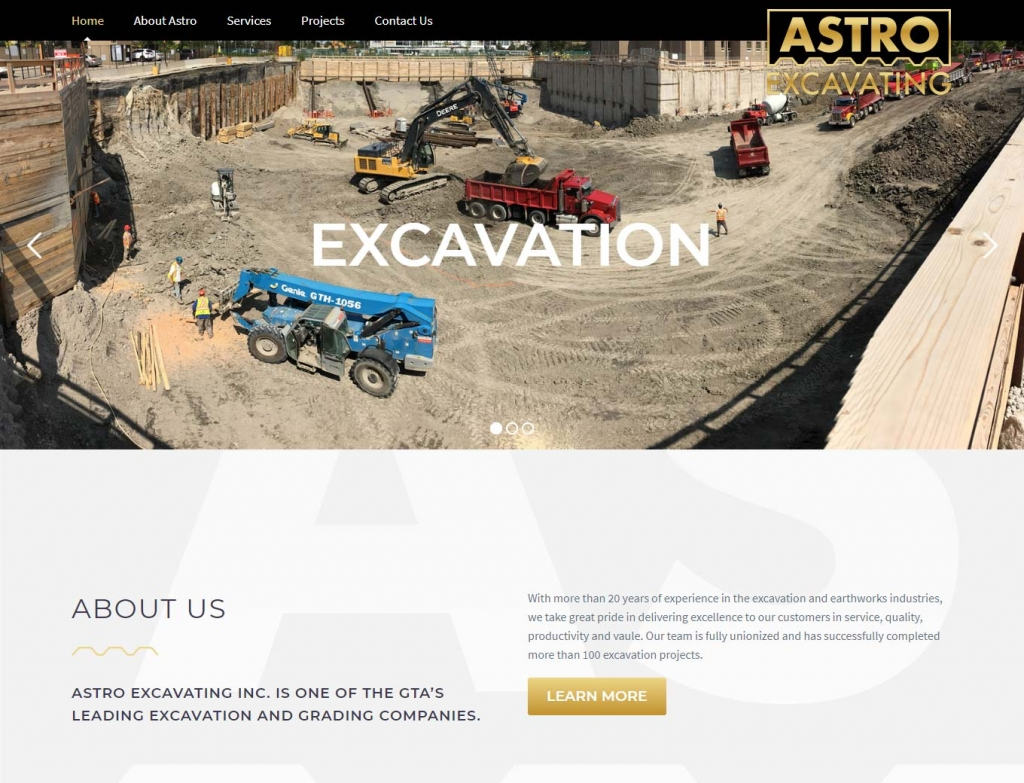 The Astro Excavating website home page