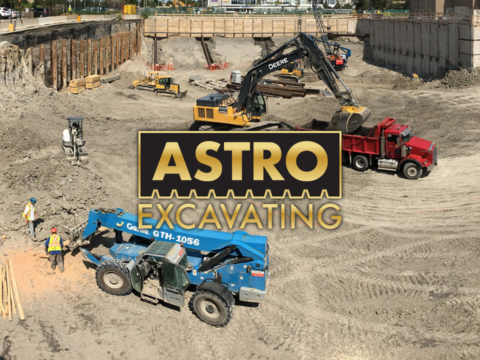 Construction site backdrop with Astro logo at forefront.