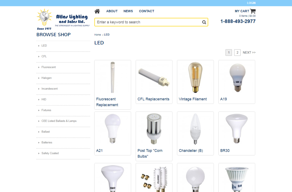 Lighting products displayed on the Atlas Lighting website