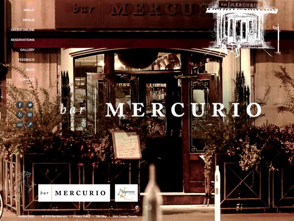 Sepia tones of the Bar Mercurio website design.