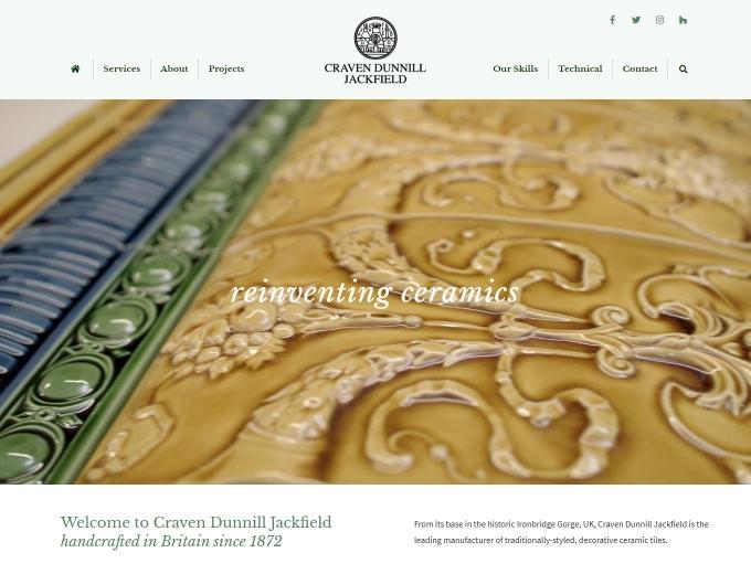 Closeup of handmade tiles on CD Jackfield website
