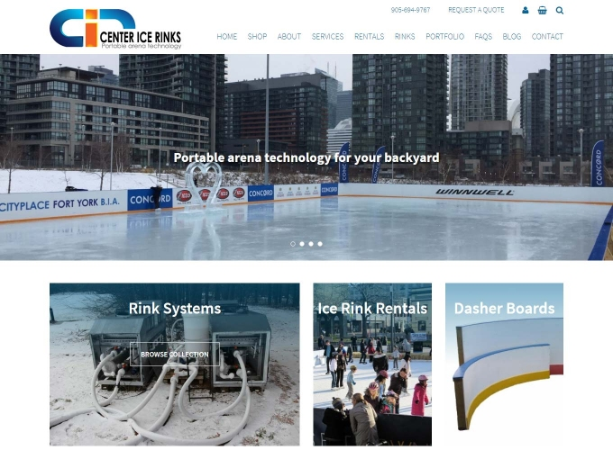 Different rink technology featured on home page of Center Ice Rinks