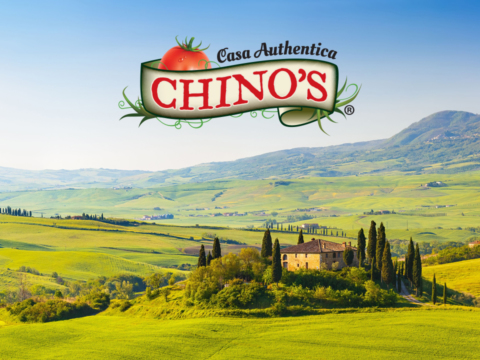 Italian countryside and Chino logo in forefront.