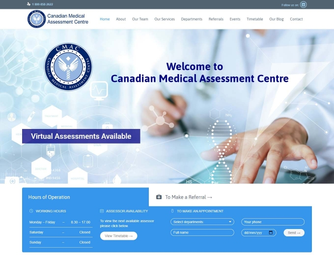 Doctor completing forms on website's landing page