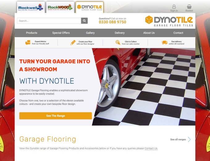 Home page snapshot of the Dynotile ecommerce website