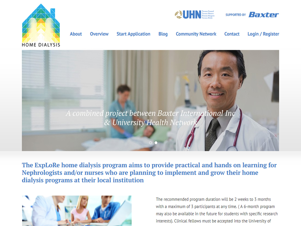 Medical doctor on home page of web design.