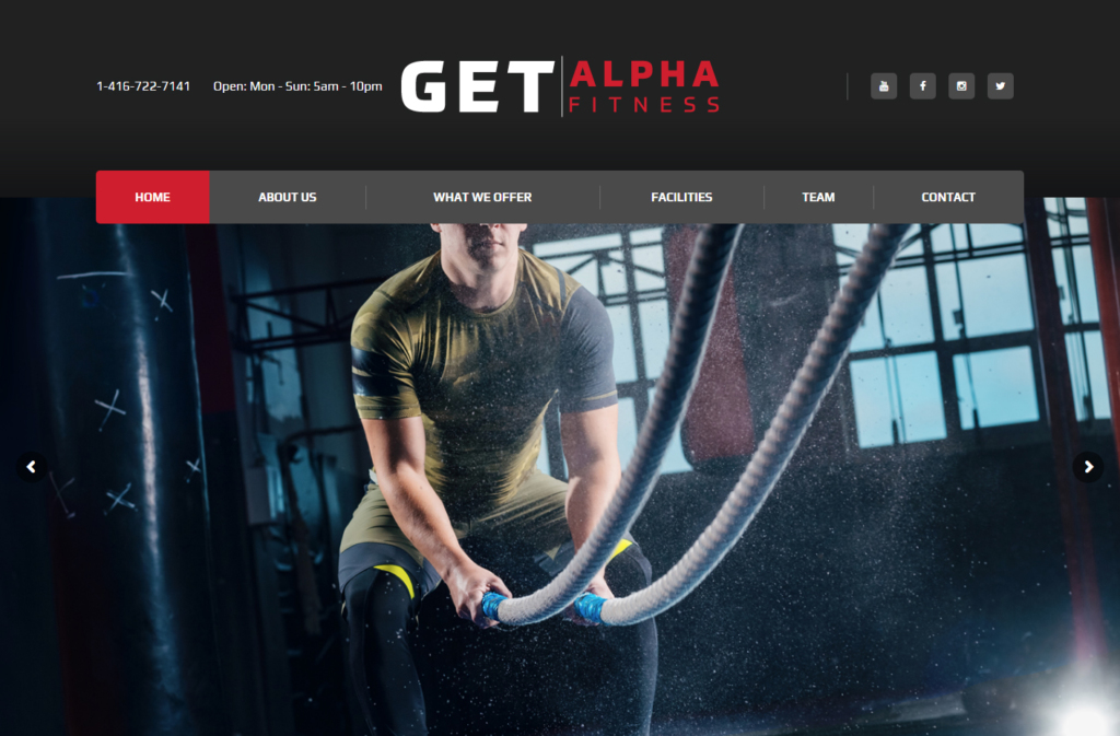 Man working out in banner on website home page.