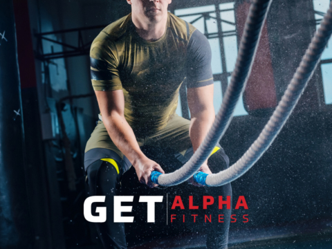 Man using ropes to work on Alpha website.