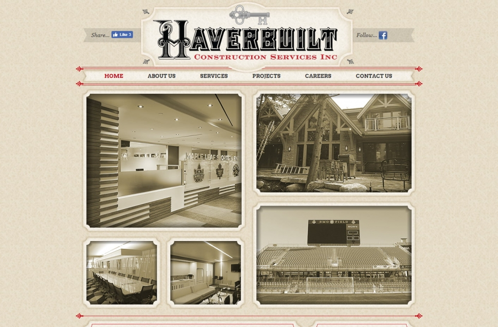 Sepia tones on the Haverbuilt website landing page.