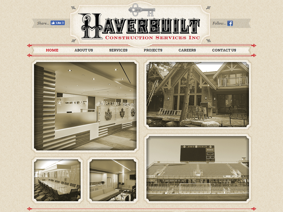 Unique look of Haverbuilt website home page.