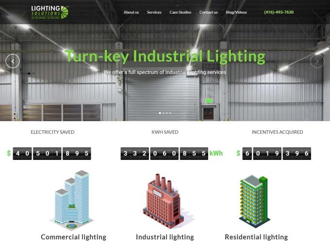 Lighting company website design example