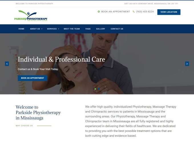 Screen shot of the Parkside Phyisotherapy web design home page