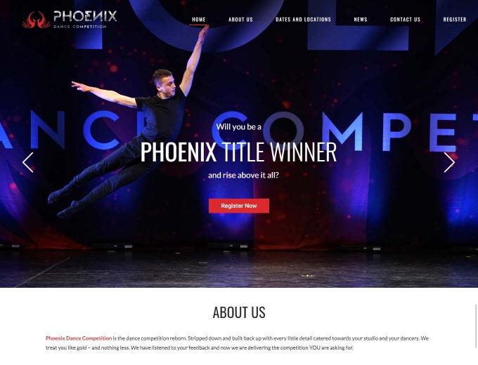 The Phoenix Dance Competition website landing page