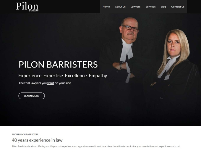 The Pilon legal team on their web design home page