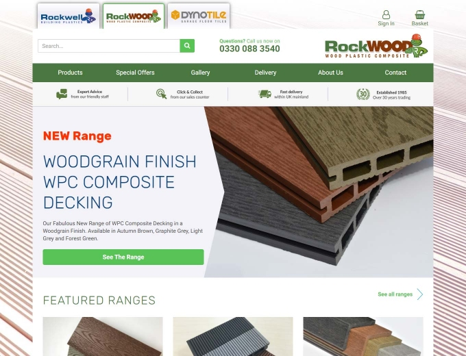 Composite decking products feature on the website landing page