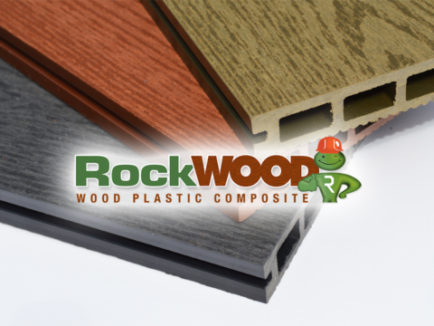Timber styled boards with Rockwood logo