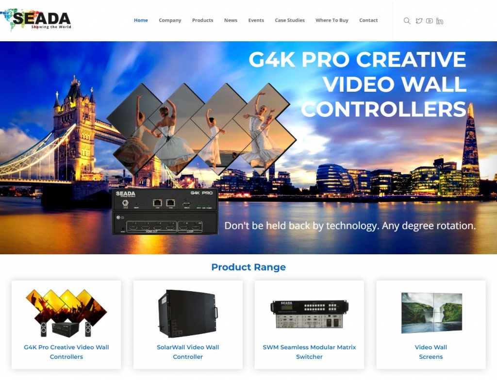 Video wall technology showcased on the Seada website landing page