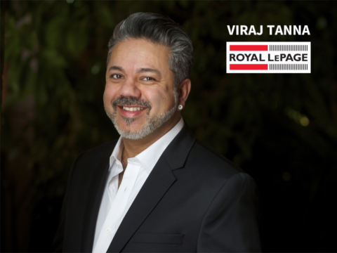 Close up of Viraj Tanna and Royal LePage logo.