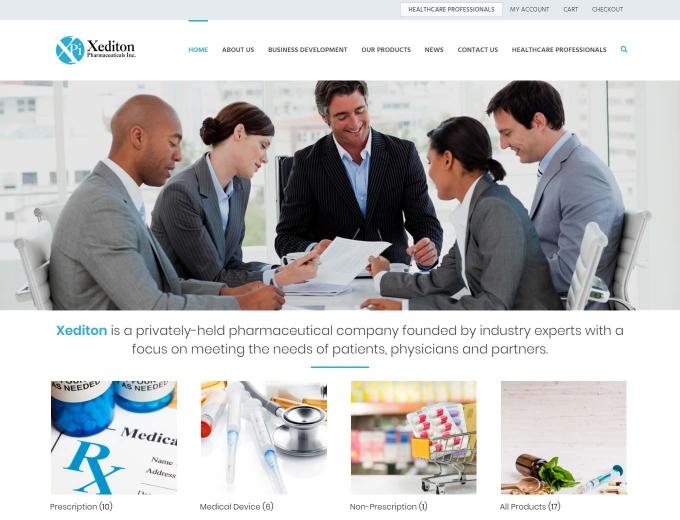 The Xediton pharmaceutical company ecommerce web design