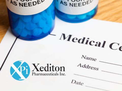 Xediton logo with pills and medical supplies in background