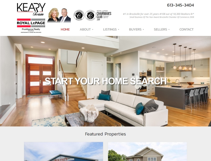 Featured listing son this realtor's website design home page