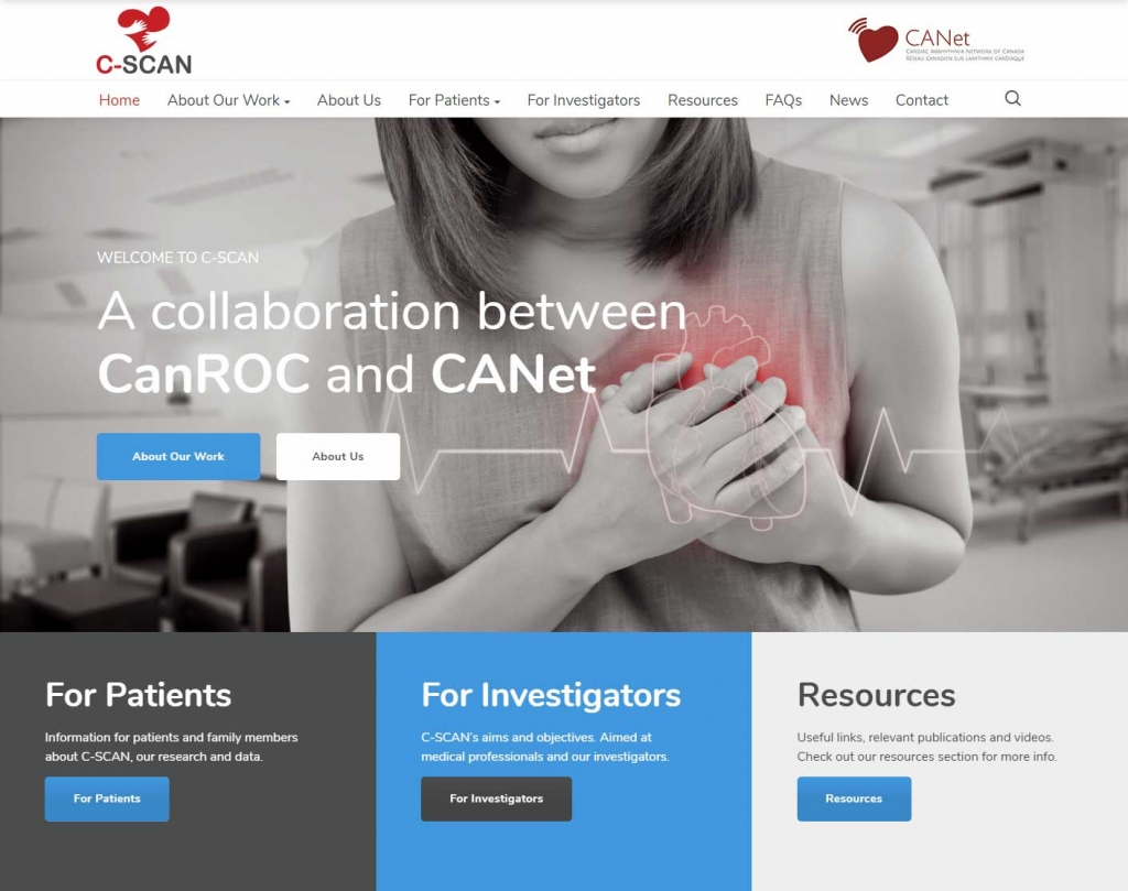Woman clenching on C-Scan website home page.