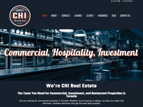 Landing page of CHI's web design