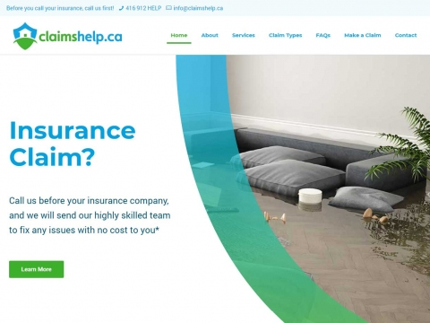 A closeup of the new Claims Help website design