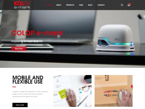 Home page showing COLOP e-mark product in action