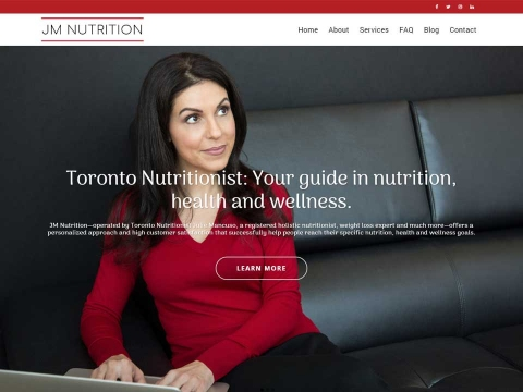 Julie Mancuso featured on her websites home page.
