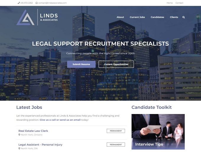 Toronto city features on this recruitment company web design