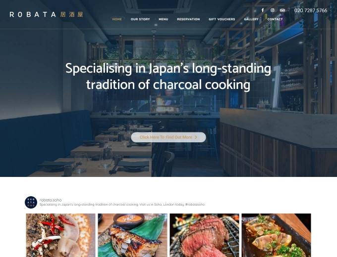 The Robata Japanese Restaurant website design