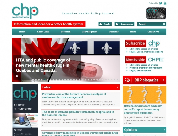 Numerous health articles on website landing page