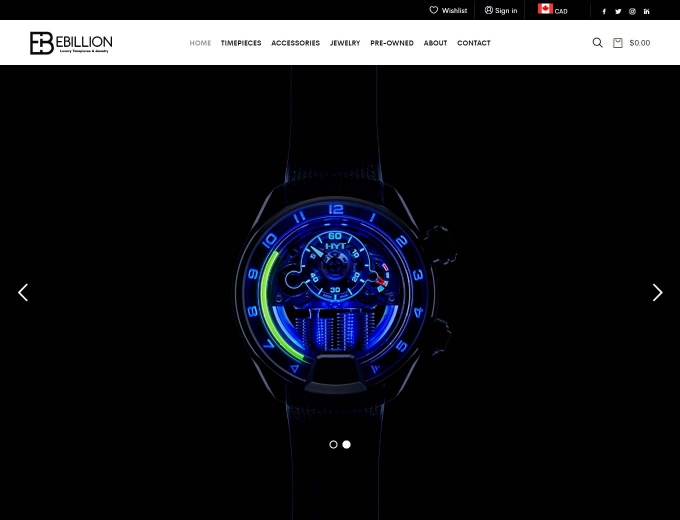 Luxury watch lit up on black backdrop