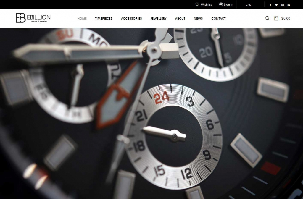 Luxury watches feature on the Ebillion website home page