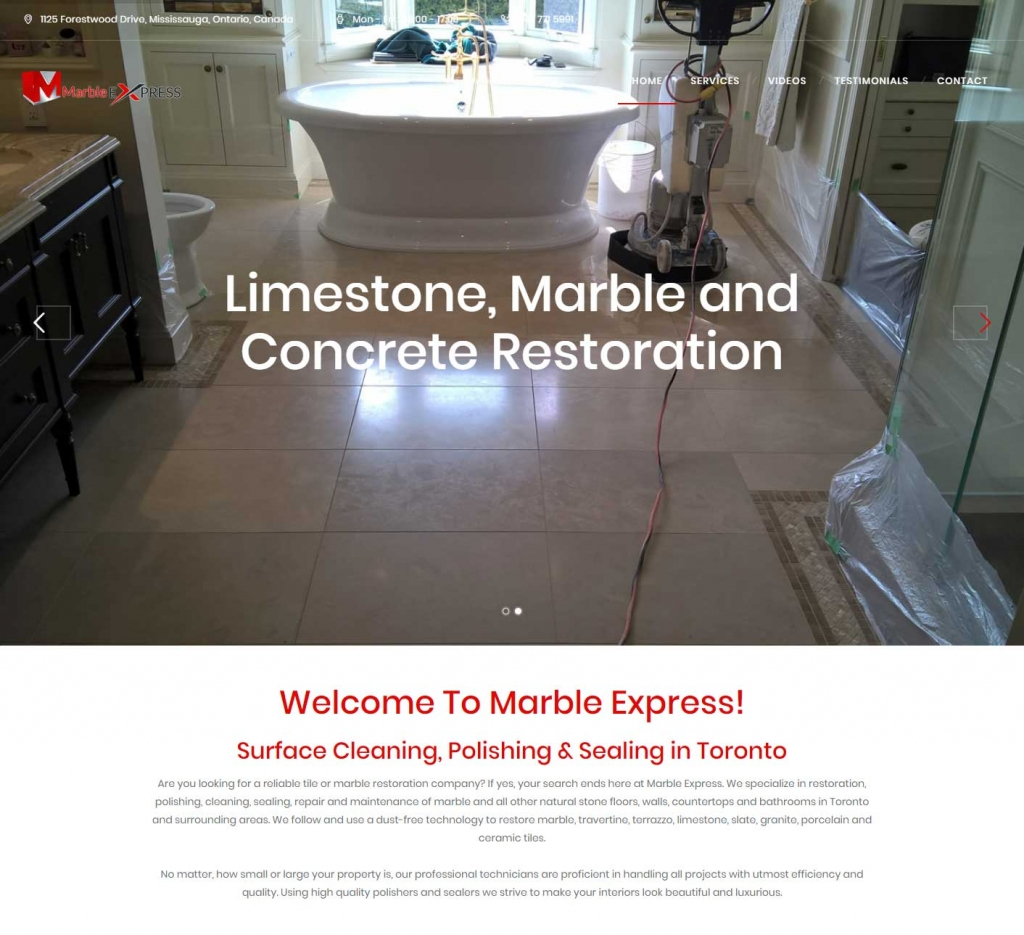 Polished marble bathroom floors on website landing page