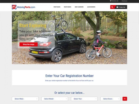 Roof bars mounted on a car on home page banner
