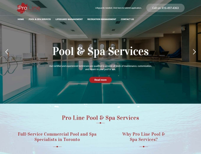 Crystal clear pool features on home of website