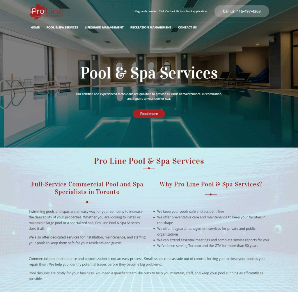 Clear blue indoor pool on Pro Line website design home page