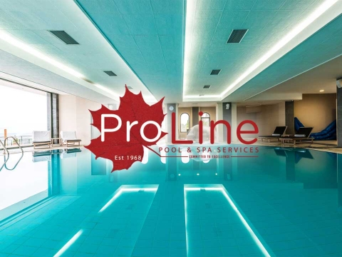 Azure blue indoor pool on home page banner