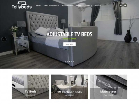 Luxury tellybed features on website home page