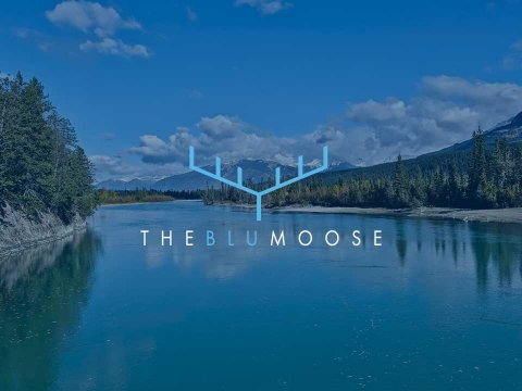 BlueMoose logo shown on backdrop of blue lakes and mountains