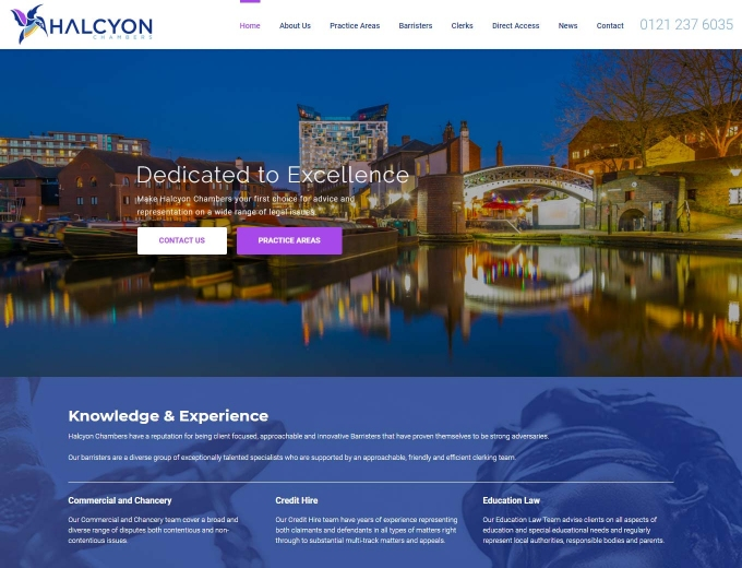 City skyline and canal feature on this legal firm website design