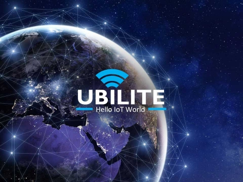 Ubilite logo with planet earth backdrop
