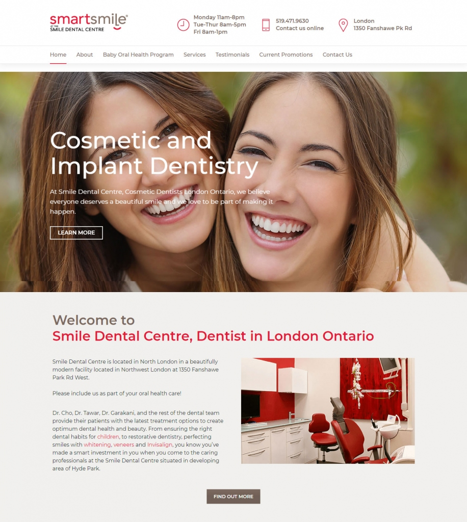 Showing beautiful smiles on the Smartsmile website design