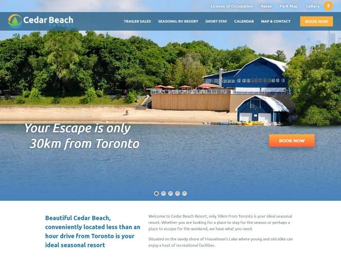 Golden beach and blue lake at Cedar Beach Resort